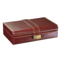 Dulwich Designs 70880 Chestnut Brown Cufflink Box With Tan Lining